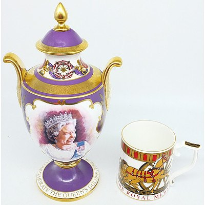 Caverswall Limited Edition Commemorative Urn with The Royal Collection Fine Bone China Mug
