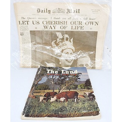 Golden Print edition of the Daily Mail from 3 June 1953 and Edition of The Land Annual for 1958