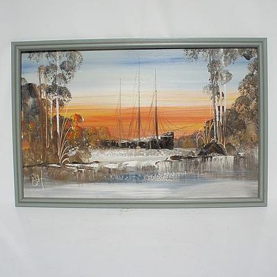 Four Original Landscape Scnenes Oil on Board