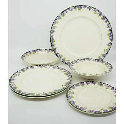 Group of Royal Doulton Purple Violets Tableware Set Mid 20th Century