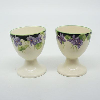 Two Royal Doulton Purple Violet Egg Cups Mid 20th Century