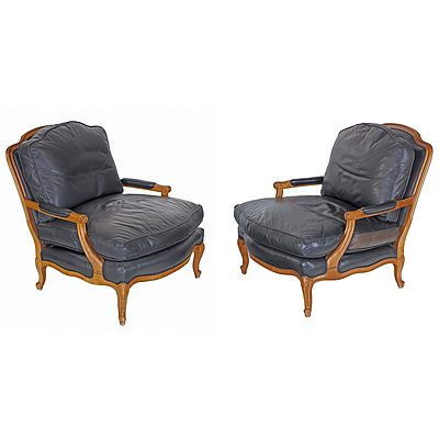 Quality American Made Louis Style Carved Beech and Leather Upholstered Grand Armchairs