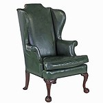 Quality Tall Wingback American Chippendale Style Armchair with Brass Studded Mottled Dark Olive Green Leather Upholstery
