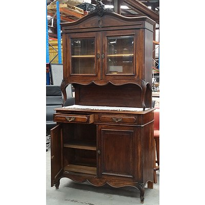 Louis Style Chestnut Buffet Deux Corps France or Belgium Early 20th Century