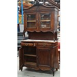 Vintage French Style Two Peice Kitchen Cabinet with Decorative Escutcheons and Bevelled Glass