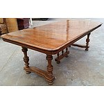 Antique Continental Oak Four Leaf Extension Dining Table