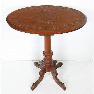 Antique Tramp Art Carved Kauri Pine Occasional Table Probably Barossa