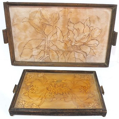 Two Vintage Drinks Trays with Pokerwork Flanel Flowers