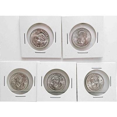 Australia Brilliant Uncirculated Silver Shillings 1962