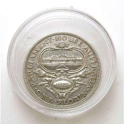 Australia 1927 Sterling Silver Canberra Florin