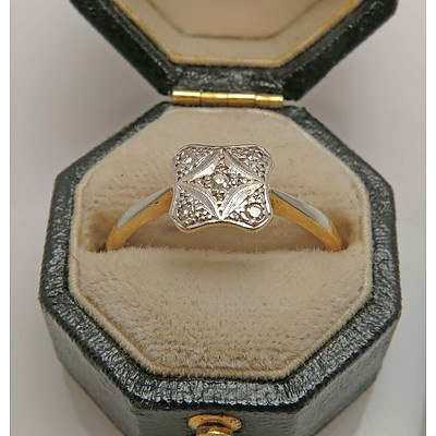 Vintage Art Deco style Diamond Ring-Gold & Platinum
