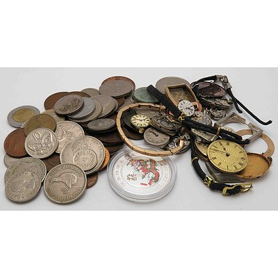 Collection of Coins & Watch Parts