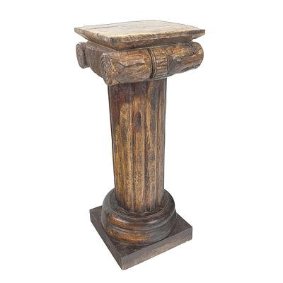 Hand Carved Classical Ionic Column Pedestal Late 20th Century