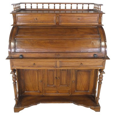 Dutch East Indies Colonial Style Cylinder Top Desk Late 20th Century