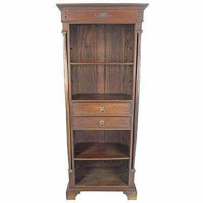 Reproduction French Style Solid Wood Open Bookcase with Metal Corinthian Column Capitals Late 20th Century