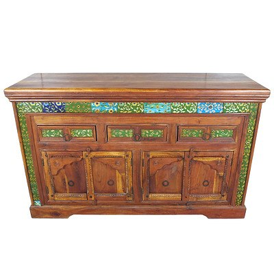 East Indies Colonial Style Solid Wood Cabinet Inset with Persian Style Glazed Ceramic Tiles Late 20th Century