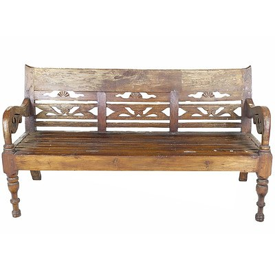 Dutch East Indies Colonial Style Bench Late 20th Century
