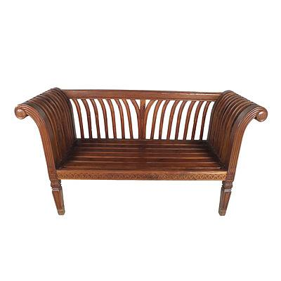 Hand Carved Dutch East Indies Plantation Style Settee with Fabric Upholstered Cushion Late 20th Century
