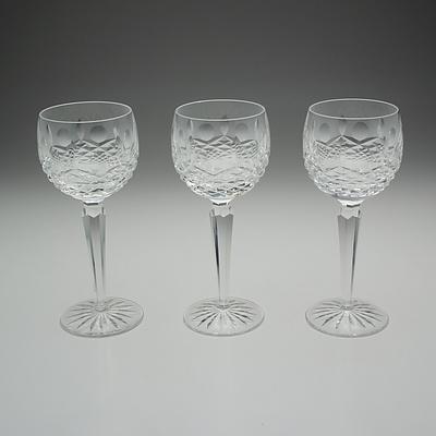 Three Waterford Cut Crystal Wine Glasses