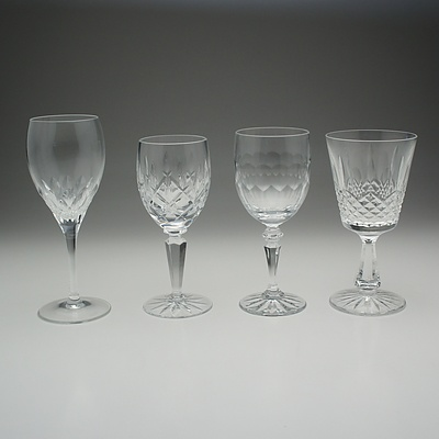 Assortment of Cut Crystal and Molded Glass Glasses and Mugs Including Galway and J.G Durand