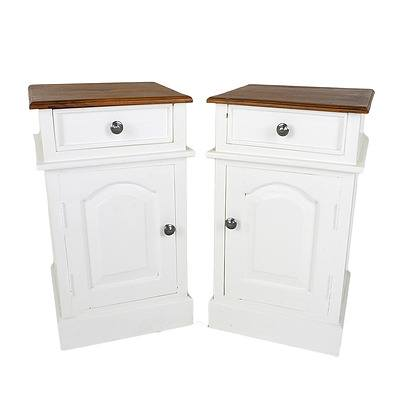 Pair of White Painted Solid Wood Colonial Style Bedside Tables