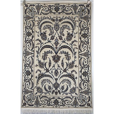 Super Fine Persian Isfahan Hand Knotted Silk and Wool Pile Rug, Signed in Arabic