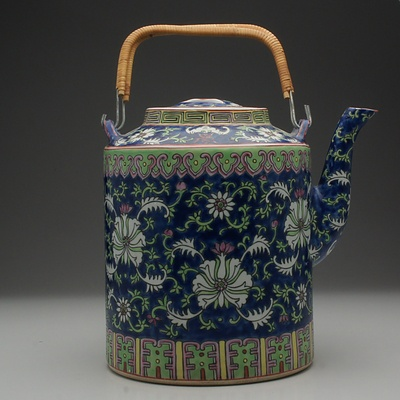 Chinese Famille Rose Teapot with Wicker Handle