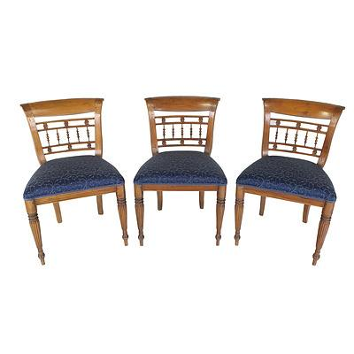 Three Dutch East Indies Colonial Style Hand Carved Side Chairs Late 20th Century
