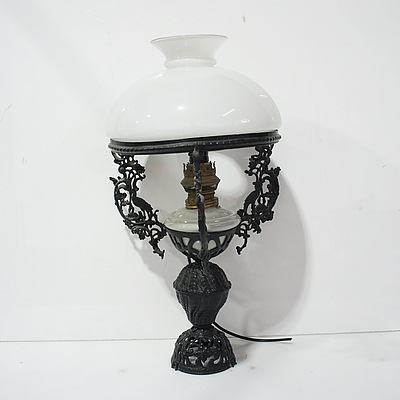 Dutch East Indies Colonial Style Oil Lamps Converted to Electricity