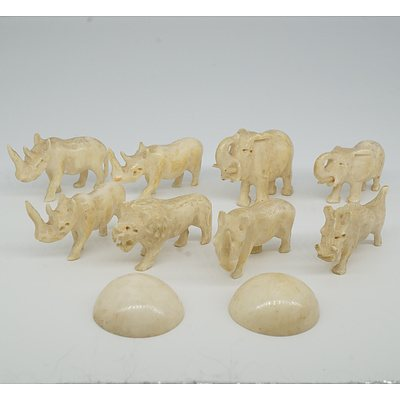 Group of Miniature Carved African Ivory Animals