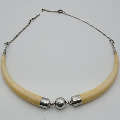 Metal Mounted African Ivory Necklace