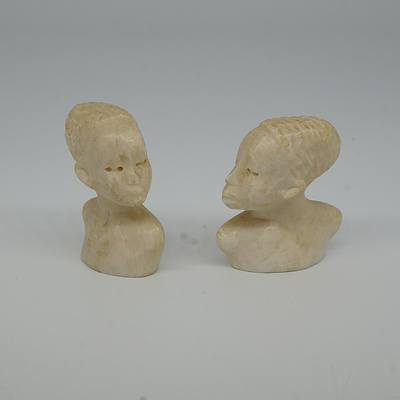 Two Miniature Carved African Ivory Busts