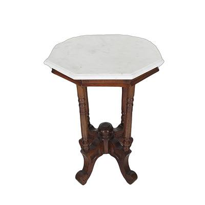 Dutch East Indies Colonial Style Marble Top Octagonal Occasional Table Late 20th Century