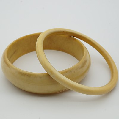 Two Carved African Ivory Bangles