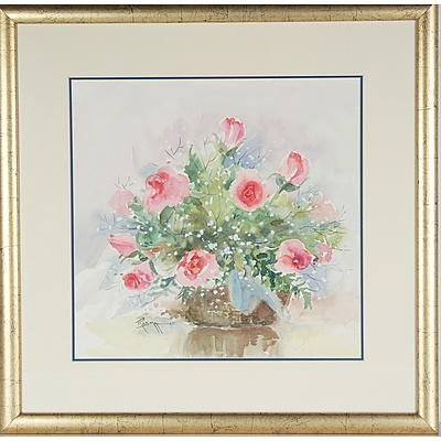 Rosma Guha Pink Flowers Still Life Watercolour