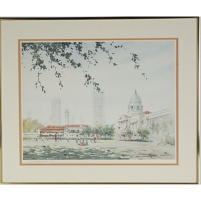 Loy Chye Chuan (1940 - ) The Padang Singapore Limited Edition Lithograph 346/950