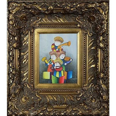 Joyce Roybal (1955-) Three Musicians Oil on Canvas
