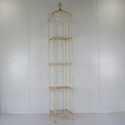 Tall White Painted Steel Wire Pagoda Shape Whatnot or Shelf Unit