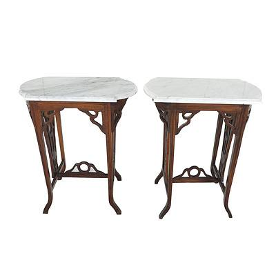 Pair of Dutch East Indies Colonial Style Marble Top Lamp or Wine Tables Late 20th Century