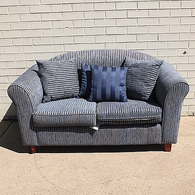 Ridge Two Person Upholstered Blue Couch with Cushions