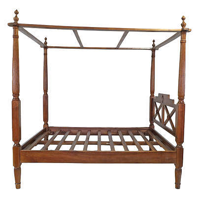 Dutch East Indies Colonial Style Solid Wood Four Poster Bed Late 20th Century NB Non-Standard Size