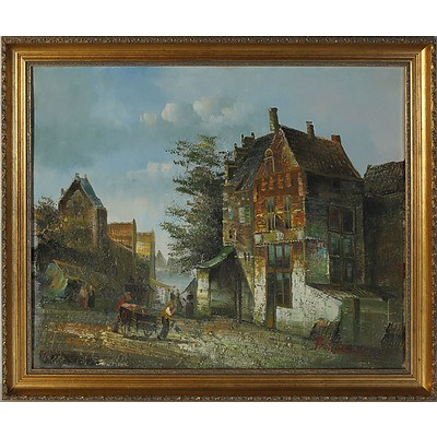 Village Scene Oil on Board Signed Baillie