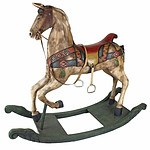 Very Large Colonial Style Carved and Polychromed Wood Rocking Horse Late 20th Century