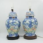 Pair of Asian Floral Glazed Table Lamps
