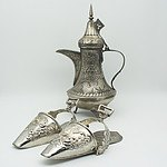 Pair of Peruvian Decorative Stirrups and Persian Peirced Metal Coffee Pot Shaped Lantern