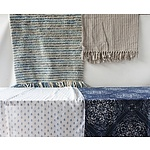 Two Throw Rugs, Two Fine Cotton Drapes, and One Blue Circular Table Cloth