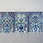 Mounted Persian Iznik Style Tile Panel