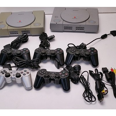 Sony Playsation Consoles, Controllers & Cables - Lot of 2 Consoles