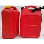 20 Lit Plastic Fuel Jerry Cans - Lot of 2