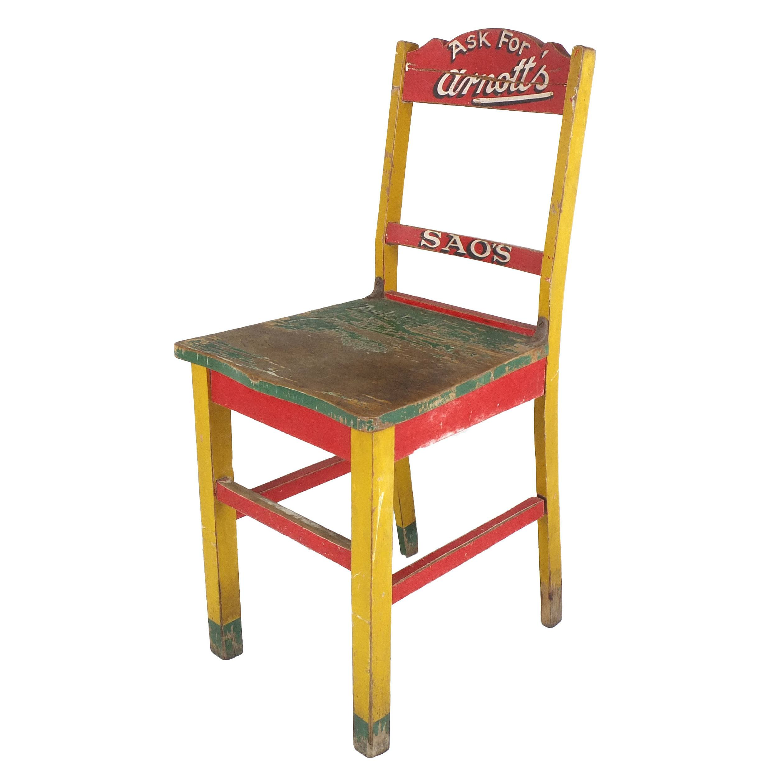 'Genuine Vintage Iconic Arnotts Biscuits Advertising Chair, Painted Kauri Pine'